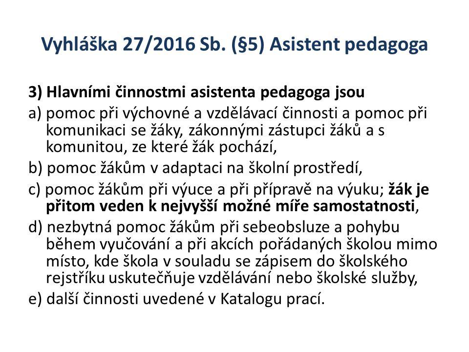Vyhláška 27/2016 Sb. (§5) Asistent pedagoga 3) Hlavními činnostmi asistenta pedagoga jsou a) pomoc při výchovné a vzdělávací činnosti a pomoc při komu