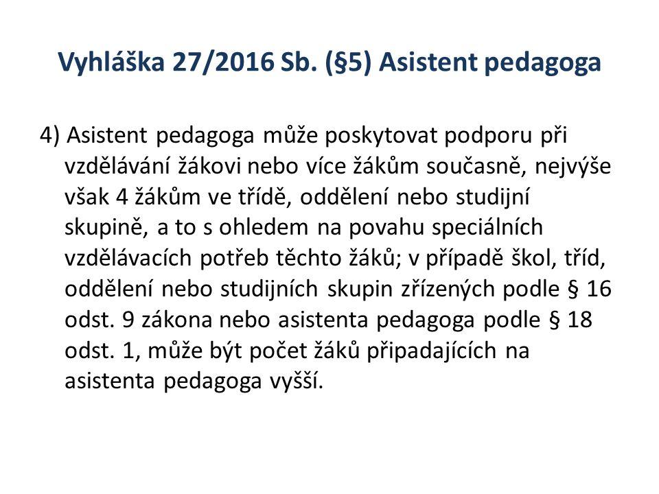 Vyhláška 27/2016 Sb. (§5) Asistent pedagoga 4) Asistent pedagoga může poskytovat podporu při vzdělávání žákovi nebo více žákům současně, nejvýše však