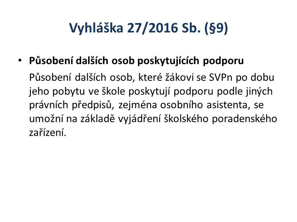 Vyhláška 27/2016 Sb. (§9) Působení dalších osob poskytujících podporu Působení dalších osob, které žákovi se SVPn po dobu jeho pobytu ve škole poskytu