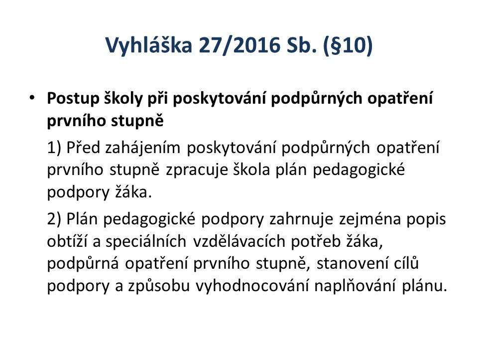 Vyhláška 27/2016 Sb. (§10) Postup školy při poskytování podpůrných opatření prvního stupně 1) Před zahájením poskytování podpůrných opatření prvního s