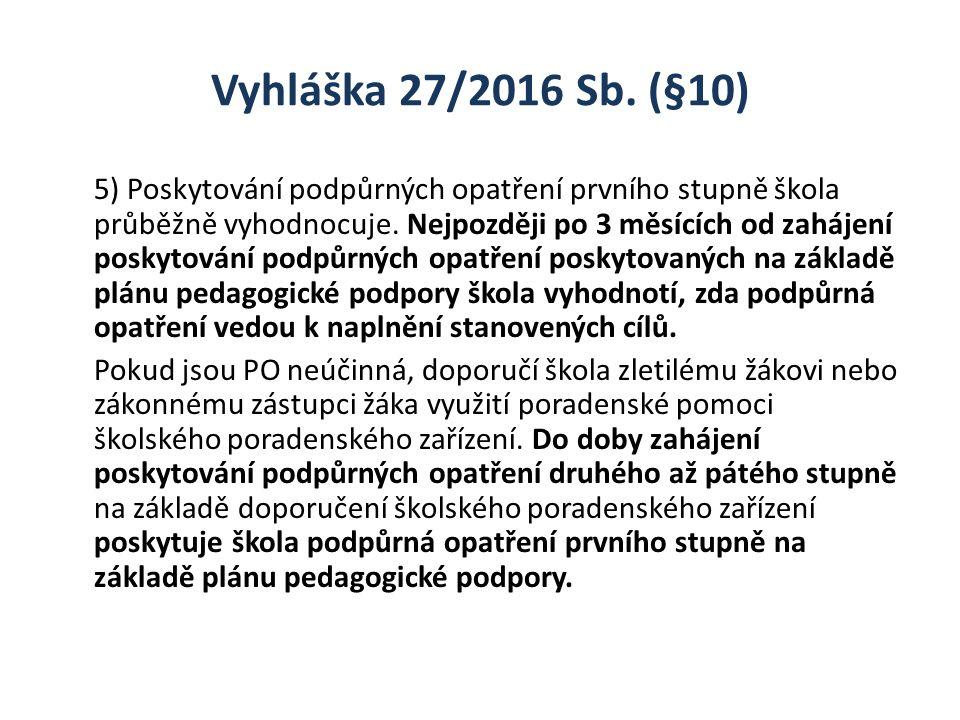 Vyhláška 27/2016 Sb. (§10) 5) Poskytování podpůrných opatření prvního stupně škola průběžně vyhodnocuje. Nejpozději po 3 měsících od zahájení poskytov