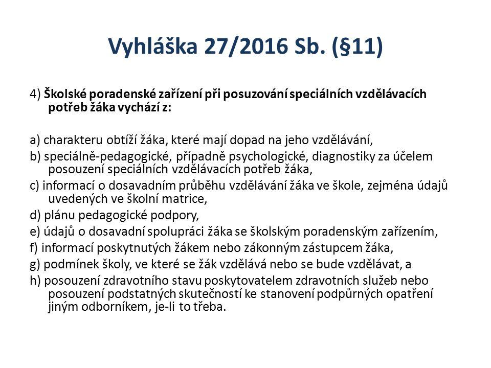 Vyhláška 27/2016 Sb. (§11) 4) Školské poradenské zařízení při posuzování speciálních vzdělávacích potřeb žáka vychází z: a) charakteru obtíží žáka, kt