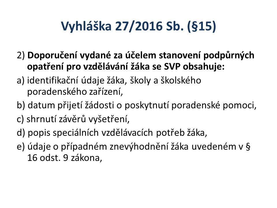 Vyhláška 27/2016 Sb. (§15) 2) Doporučení vydané za účelem stanovení podpůrných opatření pro vzdělávání žáka se SVP obsahuje: a) identifikační údaje žá