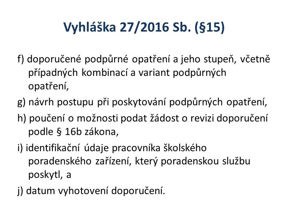 Vyhláška 27/2016 Sb. (§15) f) doporučené podpůrné opatření a jeho stupeň, včetně případných kombinací a variant podpůrných opatření, g) návrh postupu