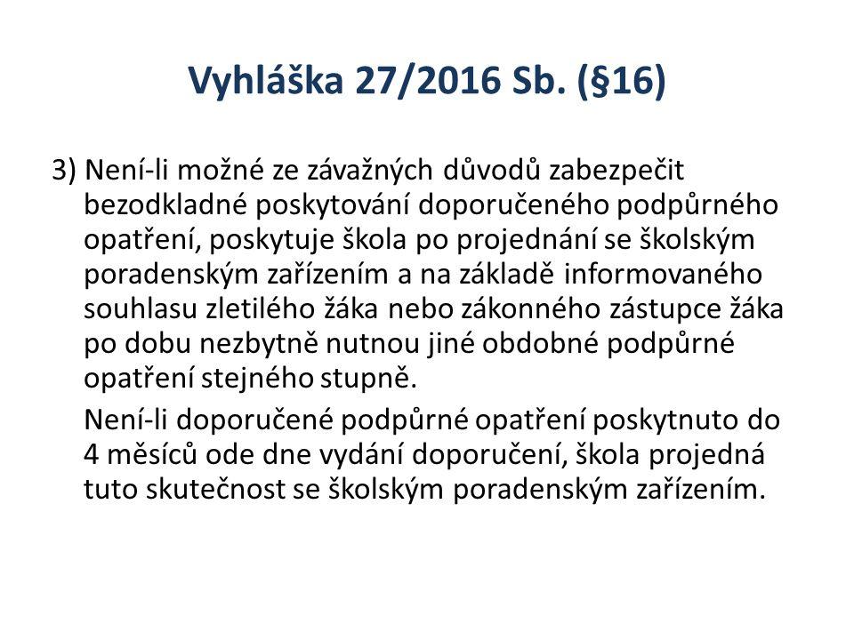 Vyhláška 27/2016 Sb. (§16) 3) Není-li možné ze závažných důvodů zabezpečit bezodkladné poskytování doporučeného podpůrného opatření, poskytuje škola p