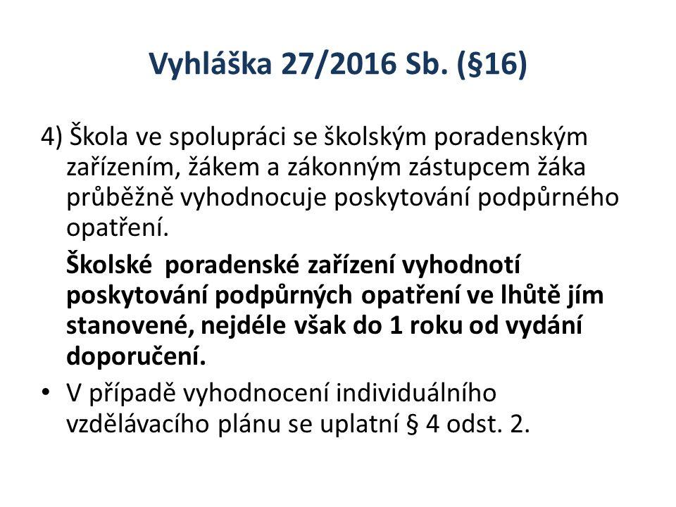 Vyhláška 27/2016 Sb. (§16) 4) Škola ve spolupráci se školským poradenským zařízením, žákem a zákonným zástupcem žáka průběžně vyhodnocuje poskytování
