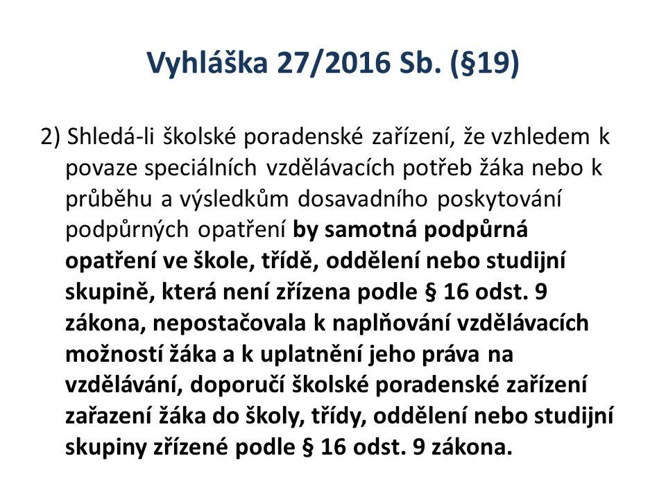 Vyhláška 27/2016 Sb. (§19) 2) Shledá-li školské poradenské zařízení, že vzhledem k povaze speciálních vzdělávacích potřeb žáka nebo k průběhu a výsled