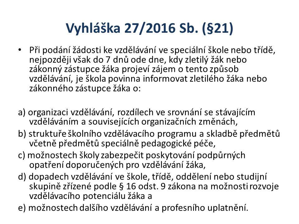 Vyhláška 27/2016 Sb. (§21) Při podání žádosti ke vzdělávání ve speciální škole nebo třídě, nejpozději však do 7 dnů ode dne, kdy zletilý žák nebo záko