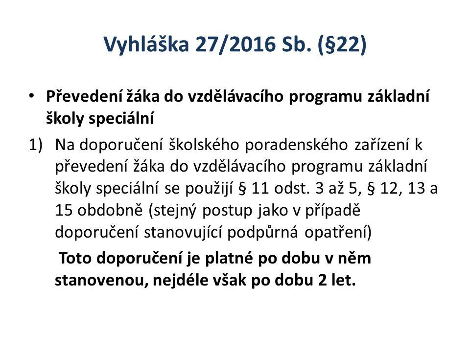 Vyhláška 27/2016 Sb. (§22) Převedení žáka do vzdělávacího programu základní školy speciální 1)Na doporučení školského poradenského zařízení k převeden
