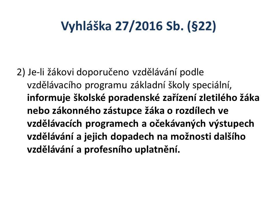 Vyhláška 27/2016 Sb. (§22) 2) Je-li žákovi doporučeno vzdělávání podle vzdělávacího programu základní školy speciální, informuje školské poradenské za