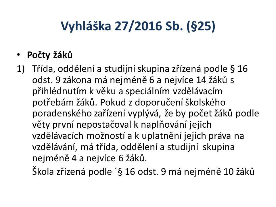 Vyhláška 27/2016 Sb. (§25) Počty žáků 1)Třída, oddělení a studijní skupina zřízená podle § 16 odst.