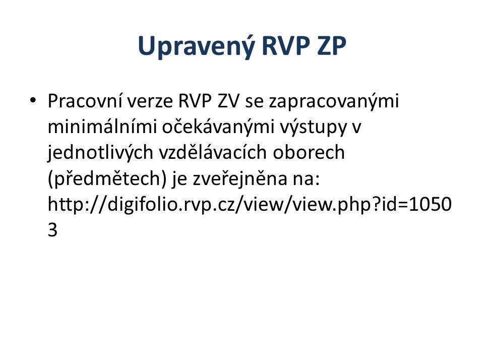 Upravený RVP ZP Pracovní verze RVP ZV se zapracovanými minimálními očekávanými výstupy v jednotlivých vzdělávacích oborech (předmětech) je zveřejněna na: http://digifolio.rvp.cz/view/view.php id=1050 3