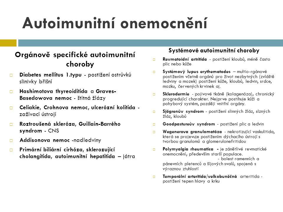 Revmatoidní artritida  systémové autoimunitní onemocnění charakterizované zánětlivou polyartritidou (chronický zánět - synoviální hypertrofie s infiltrací zánětlivých b., destrukce kloubní chrupavky a dekalcifikace kosti)  výskyt – převážně mladí nemocní (20-40 let) a premenopauzální ženy  převaha žen k mužům (2-3 : 1)  přibližně 1 % populace
