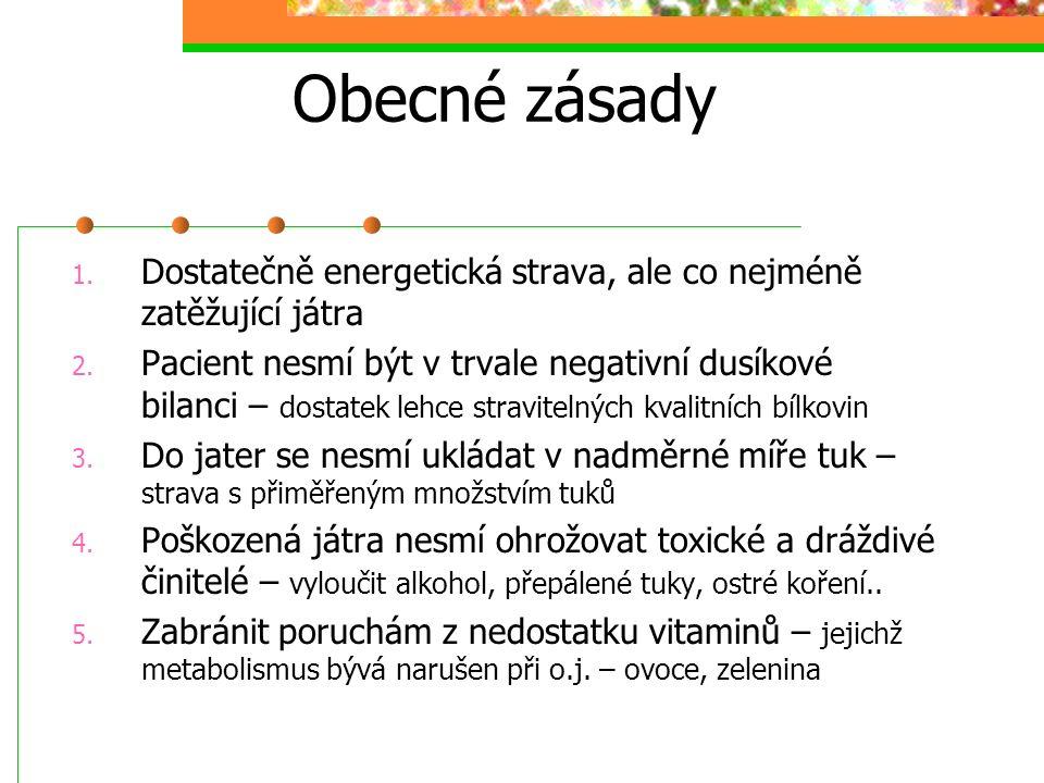 Obecné zásady 1. Dostatečně energetická strava, ale co nejméně zatěžující játra 2. Pacient nesmí být v trvale negativní dusíkové bilanci – dostatek le