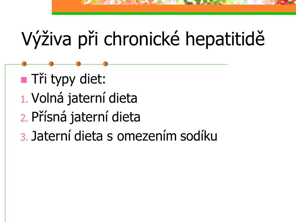 Výživa při chronické hepatitidě Tři typy diet: 1. Volná jaterní dieta 2. Přísná jaterní dieta 3. Jaterní dieta s omezením sodíku