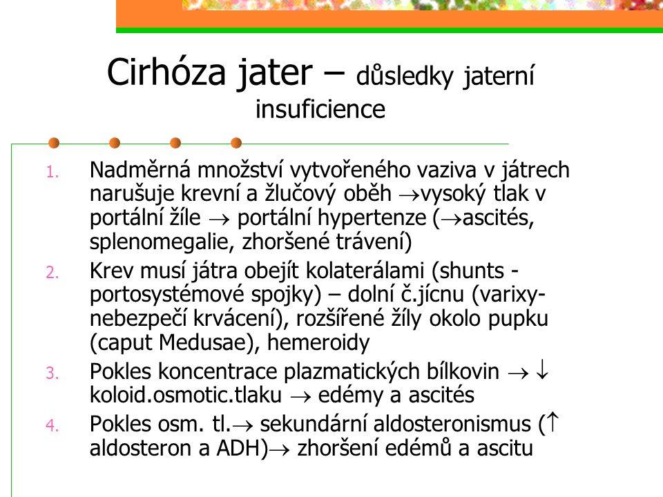 Cirhóza jater – důsledky jaterní insuficience 1. Nadměrná množství vytvořeného vaziva v játrech narušuje krevní a žlučový oběh  vysoký tlak v portáln