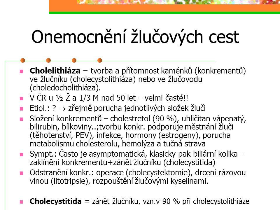 Onemocnění žlučových cest Cholelithiáza = tvorba a přítomnost kaménků (konkrementů) ve žlučníku (cholecystolithiáza) nebo ve žlučovodu (choledocholith