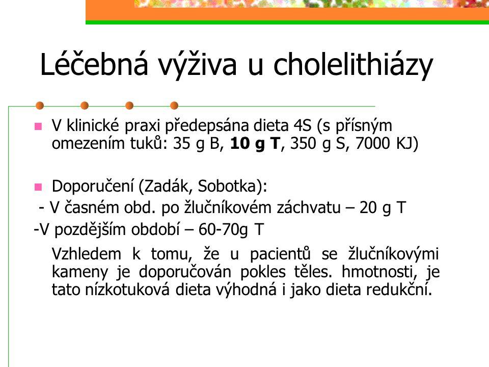 Léčebná výživa u cholelithiázy V klinické praxi předepsána dieta 4S (s přísným omezením tuků: 35 g B, 10 g T, 350 g S, 7000 KJ) Doporučení (Zadák, Sob