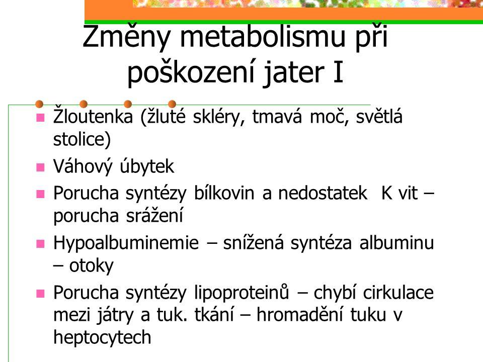 Změny metabolismu při poškození jater II Pokročilejší stadia: Zhoršená metabolická inaktivace hormonů (estrogeny) u mužů gynekomastie Zpomalení biodegradace látek ze zevního prostředí – úprava v dávkování léčiv