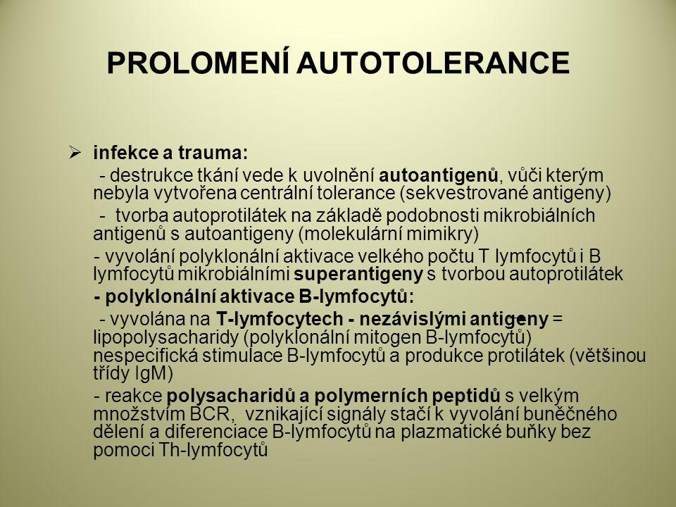 PROLOMENÍ AUTOTOLERANCE  infekce a trauma: - destrukce tkání vede k uvolnění autoantigenů, vůči kterým nebyla vytvořena centrální tolerance (sekvestrované antigeny) - tvorba autoprotilátek na základě podobnosti mikrobiálních antigenů s autoantigeny (molekulární mimikry) - vyvolání polyklonální aktivace velkého počtu T lymfocytů i B lymfocytů mikrobiálními superantigeny s tvorbou autoprotilátek - polyklonální aktivace B-lymfocytů: - vyvolána na T-lymfocytech - nezávislými antigeny = lipopolysacharidy (polyklonální mitogen B-lymfocytů) nespecifická stimulace B-lymfocytů a produkce protilátek (většinou třídy IgM) - reakce polysacharidů a polymerních peptidů s velkým množstvím BCR, vznikající signály stačí k vyvolání buněčného dělení a diferenciace B-lymfocytů na plazmatické buňky bez pomoci Th-lymfocytů