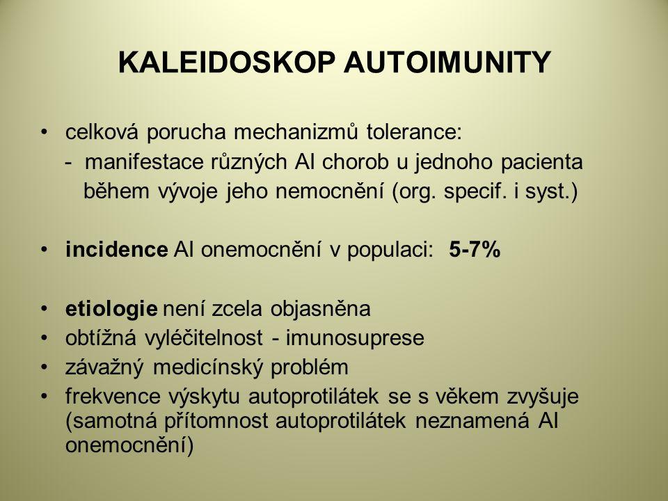 KALEIDOSKOP AUTOIMUNITY celková porucha mechanizmů tolerance: - manifestace různých AI chorob u jednoho pacienta během vývoje jeho nemocnění (org.