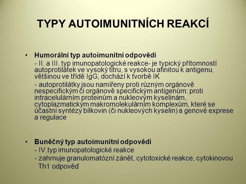 TYPY AUTOIMUNITNÍCH REAKCÍ Humorální typ autoimunitní odpovědi - II.