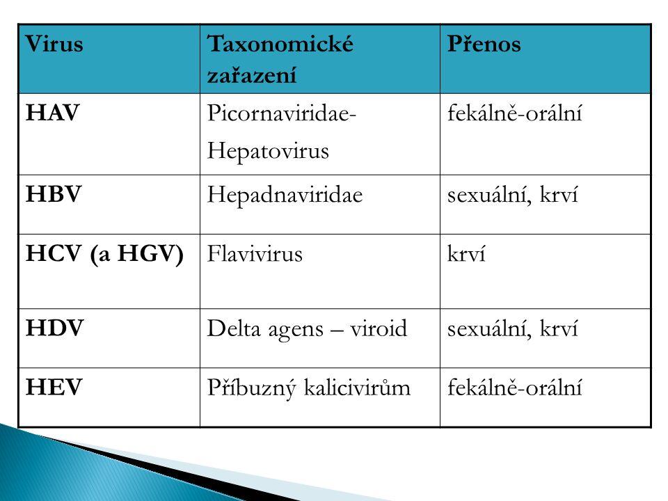 VirusTaxonomické zařazení Přenos HAVPicornaviridae- Hepatovirus fekálně-orální HBVHepadnaviridaesexuální, krví HCV (a HGV)Flaviviruskrví HDVDelta agens – viroidsexuální, krví HEVPříbuzný kalicivirůmfekálně-orální