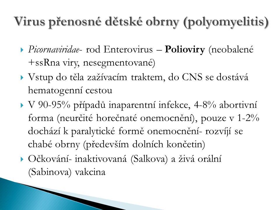  Picornaviridae- rod Enterovirus – Polioviry (neobalené +ssRna viry, nesegmentované)  Vstup do těla zažívacím traktem, do CNS se dostává hematogenní cestou  V 90-95% případů inaparentní infekce, 4-8% abortivní forma (neurčité horečnaté onemocnění), pouze v 1-2% dochází k paralytické formě onemocnění- rozvíjí se chabé obrny (především dolních končetin)  Očkování- inaktivovaná (Salkova) a živá orální (Sabinova) vakcina