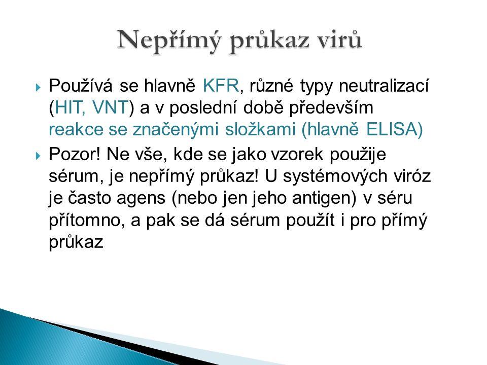  Používá se hlavně KFR, různé typy neutralizací (HIT, VNT) a v poslední době především reakce se značenými složkami (hlavně ELISA)  Pozor.