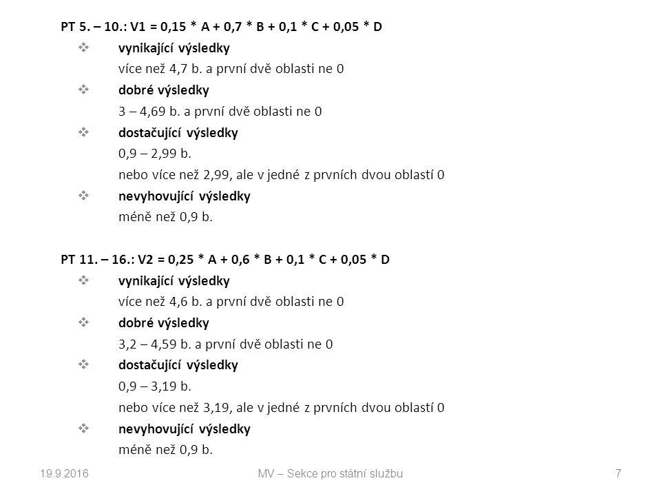 PT 5.– 10.: V1 = 0,15 * A + 0,7 * B + 0,1 * C + 0,05 * D  vynikající výsledky více než 4,7 b.