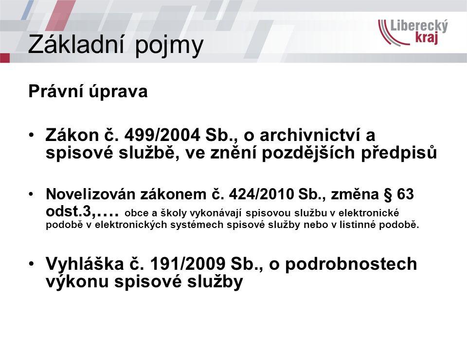 Základní pojmy Právní úprava Zákon č.