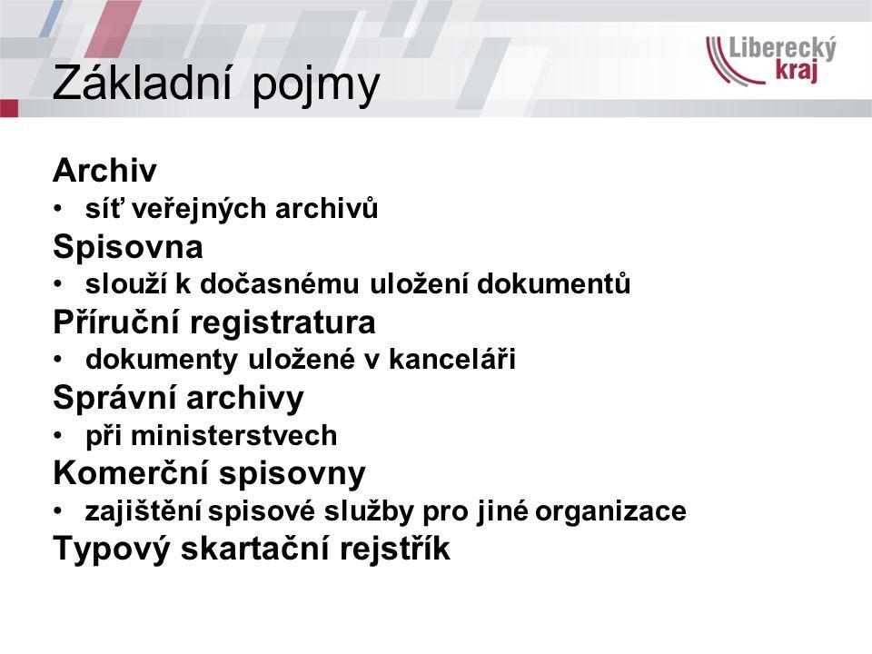Základní pojmy Archiv síť veřejných archivů Spisovna slouží k dočasnému uložení dokumentů Příruční registratura dokumenty uložené v kanceláři Správní archivy při ministerstvech Komerční spisovny zajištění spisové služby pro jiné organizace Typový skartační rejstřík