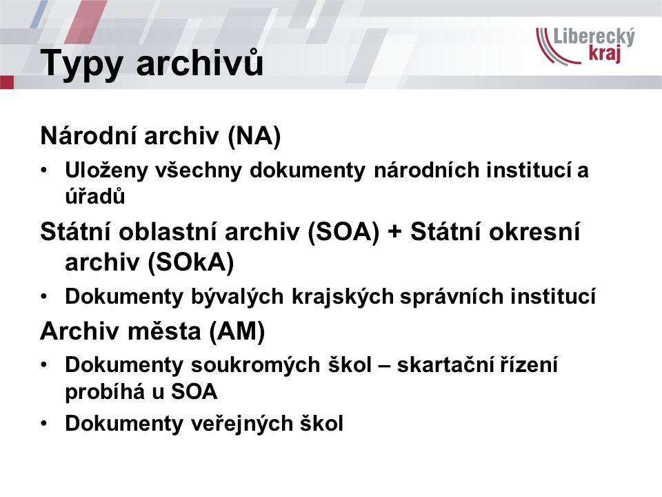 Typy archivů Národní archiv (NA) Uloženy všechny dokumenty národních institucí a úřadů Státní oblastní archiv (SOA) + Státní okresní archiv (SOkA) Dokumenty bývalých krajských správních institucí Archiv města (AM) Dokumenty soukromých škol – skartační řízení probíhá u SOA Dokumenty veřejných škol