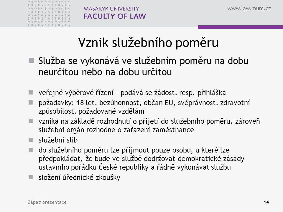 www.law.muni.cz Vznik služebního poměru Služba se vykonává ve služebním poměru na dobu neurčitou nebo na dobu určitou veřejné výběrové řízení – podává se žádost, resp.