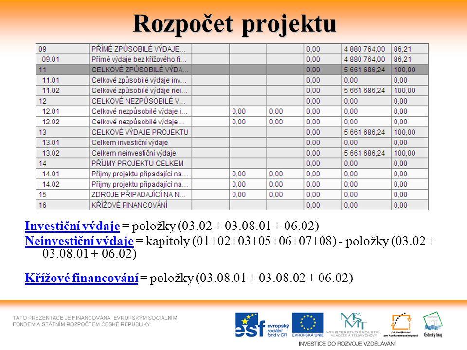 Rozpočet projektu Investiční výdaje = položky (03.02 + 03.08.01 + 06.02) Neinvestiční výdaje = kapitoly (01+02+03+05+06+07+08) - položky (03.02 + 03.0