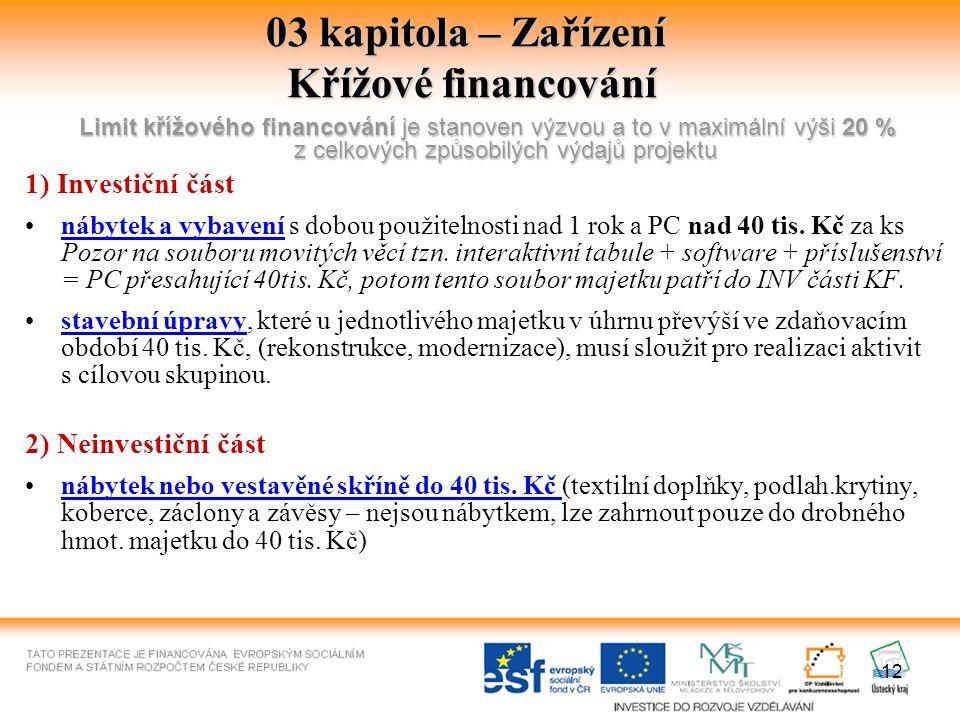 12 03 kapitola – Zařízení Křížové financování Limit křížového financování je stanoven výzvou a to v maximální výši 20 % z celkových způsobilých výdajů projektu 1) Investiční část nábytek a vybavení s dobou použitelnosti nad 1 rok a PC nad 40 tis.