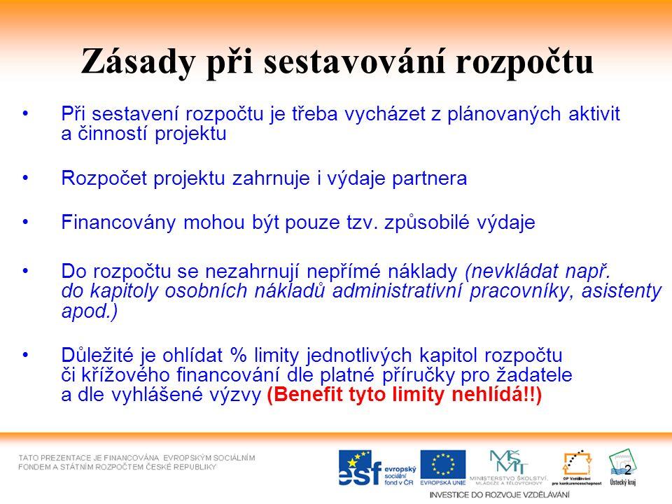 Zásady při sestavování rozpočtu II Je potřeba dodržovat cenové limity uvedené v MD č.
