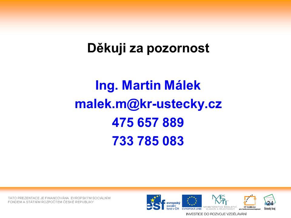 24 Děkuji za pozornost Ing. Martin Málek malek.m@kr-ustecky.cz 475 657 889 733 785 083