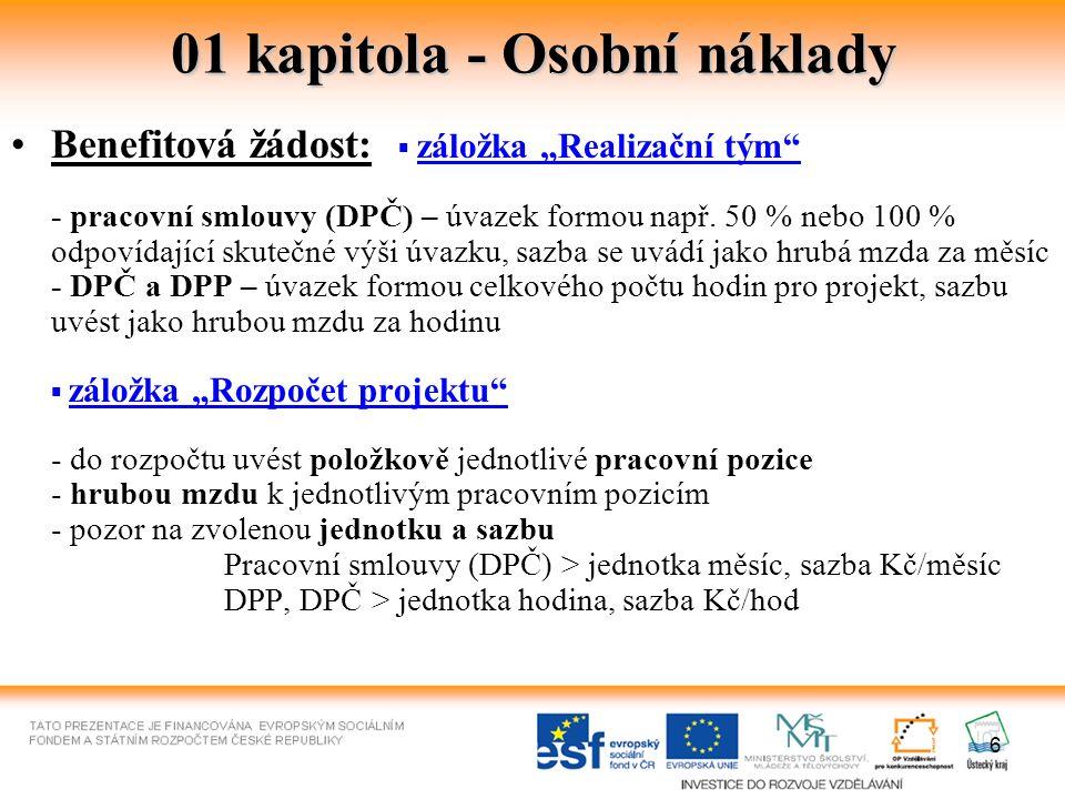 7 01 kapitola - Osobní náklady Metodický dopis č.