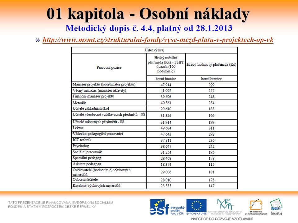 01 kapitola - Osobní náklady Jeden pracovník nemůže být v rámci projektu a současně v rámci vykonávání dalších činností pro příjemce a jeho partnery zaměstnán na více než 1,0 úvazku celkem (pracovní poměr v rámci všech pracovních smluv a DPČ a DPP).