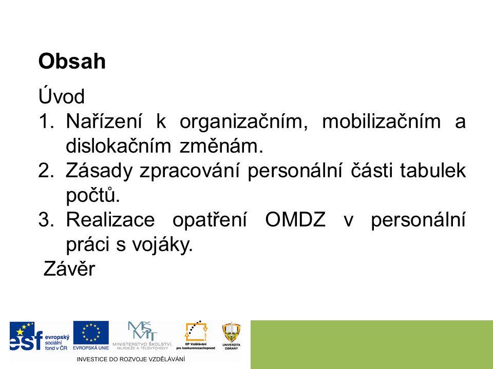 Obsah Úvod 1.Nařízení k organizačním, mobilizačním a dislokačním změnám. 2.Zásady zpracování personální části tabulek počtů. 3.Realizace opatření OMDZ