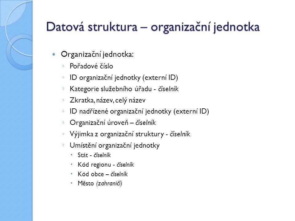 Datová struktura – organizační jednotka Organizační jednotka : ◦ Pořadové číslo ◦ ID organizační jednotky (externí ID) ◦ Kategorie služebního úřadu - číselník ◦ Zkratka, název, celý název ◦ ID nadřízené organizační jednotky (externí ID) ◦ Organizační úroveň – číselník ◦ Výjimka z organizační struktury - číselník ◦ Umístění organizační jednotky  Stát - číselník  Kód regionu - číselník  Kód obce – číselník  Město (zahraničí)