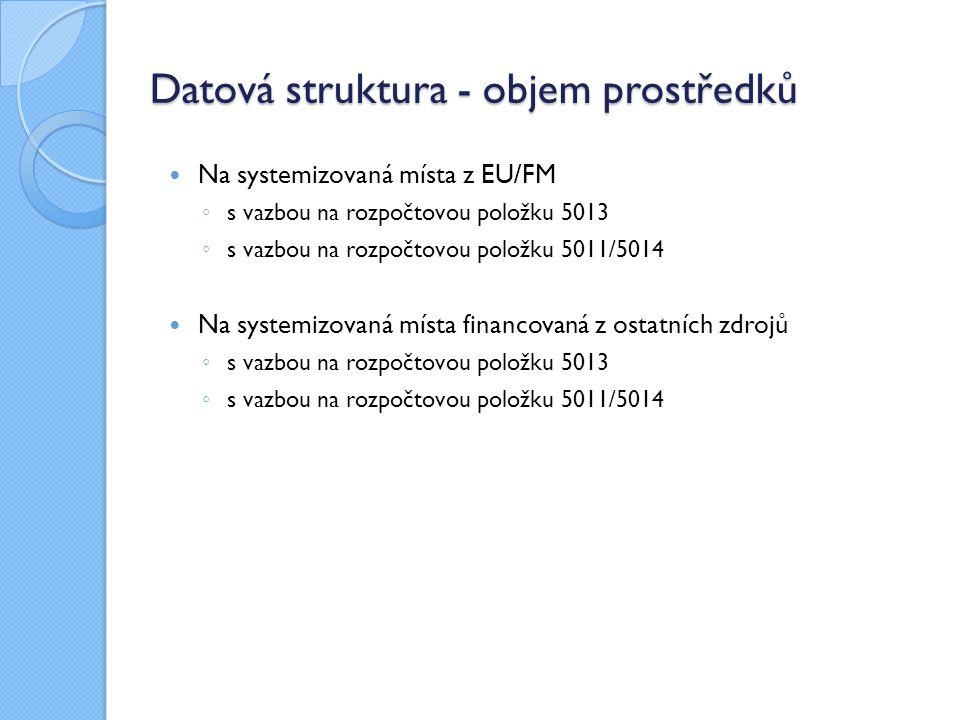 Datová struktura - objem prostředků Na systemizovaná místa z EU/FM ◦ s vazbou na rozpočtovou položku 5013 ◦ s vazbou na rozpočtovou položku 5011/5014 Na systemizovaná místa financovaná z ostatních zdrojů ◦ s vazbou na rozpočtovou položku 5013 ◦ s vazbou na rozpočtovou položku 5011/5014