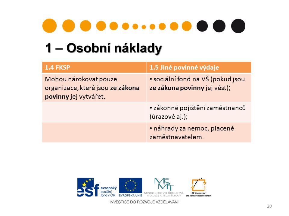 1 Osobní náklady 1 – Osobní náklady 20 1.4 FKSP1.5 Jiné povinné výdaje Mohou nárokovat pouze organizace, které jsou ze zákona povinny jej vytvářet.