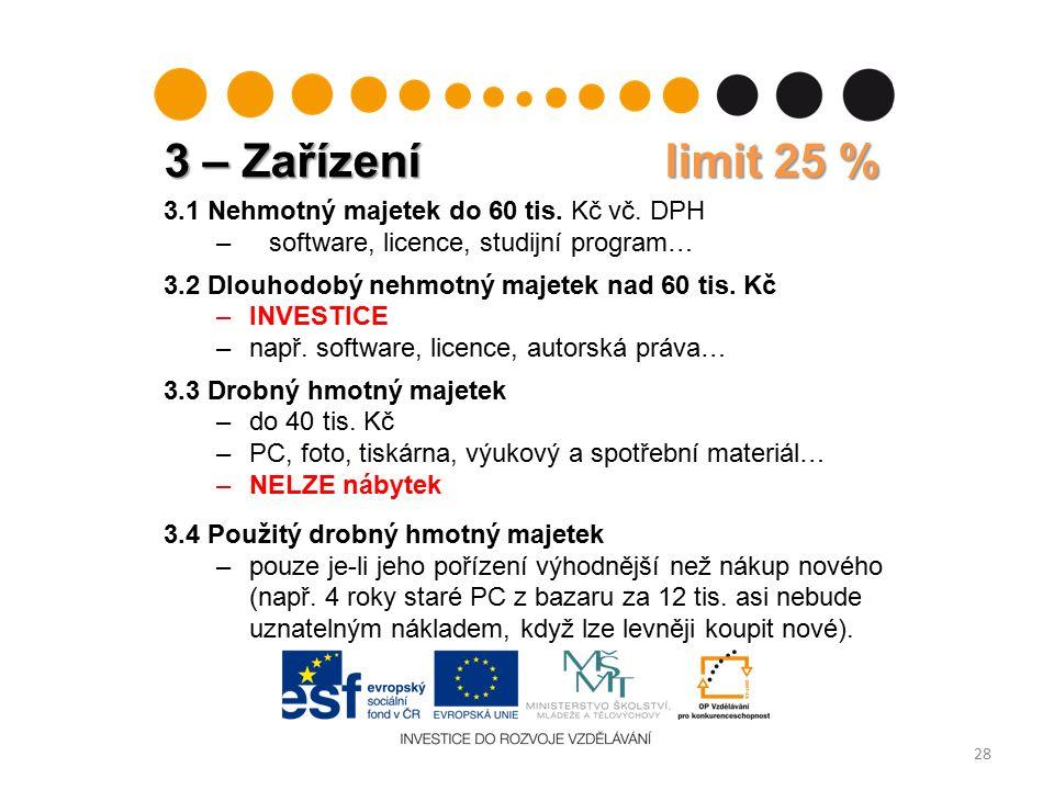 3 – Zařízení limit 25 % 28 3.1 Nehmotný majetek do 60 tis.