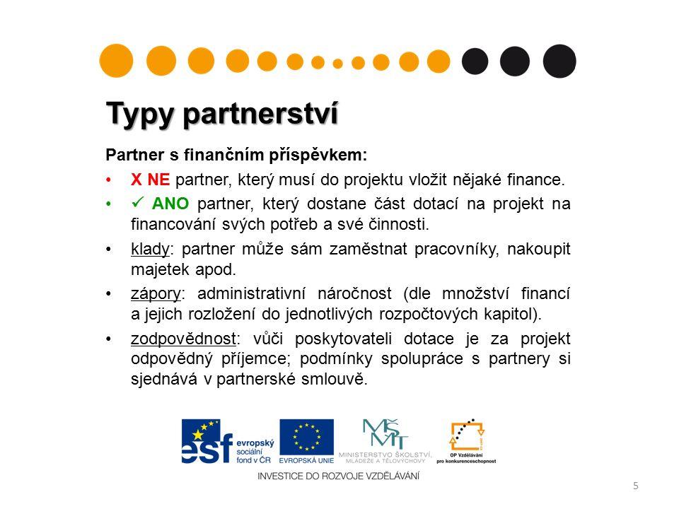 Typy partnerství 5 Partner s finančním příspěvkem: X NE partner, který musí do projektu vložit nějaké finance.