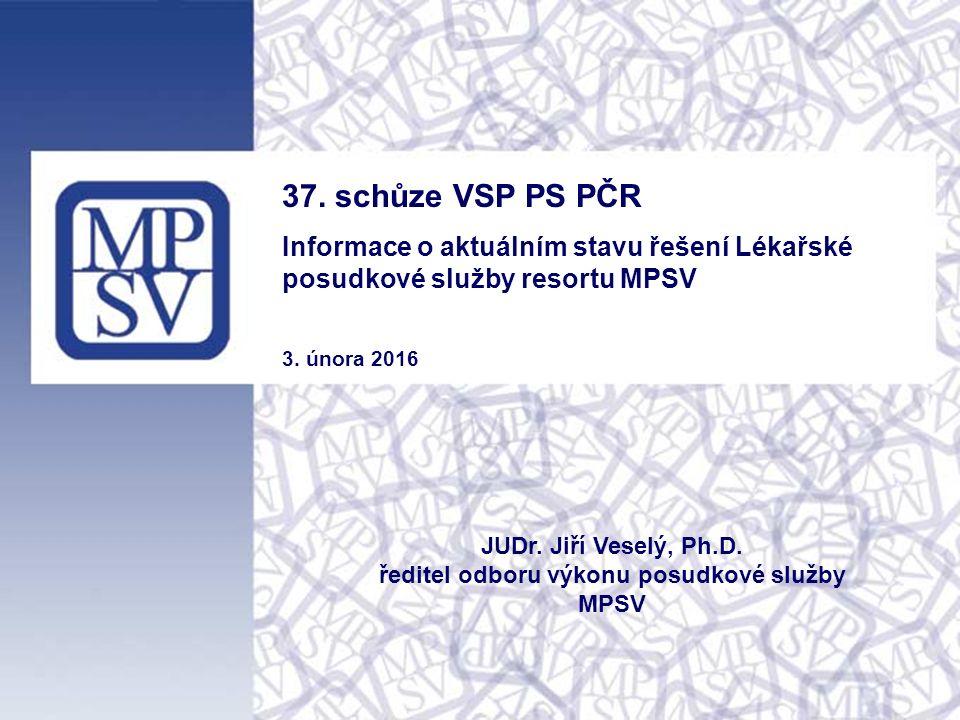 37. schůze VSP PS PČR Informace o aktuálním stavu řešení Lékařské posudkové služby resortu MPSV 3.