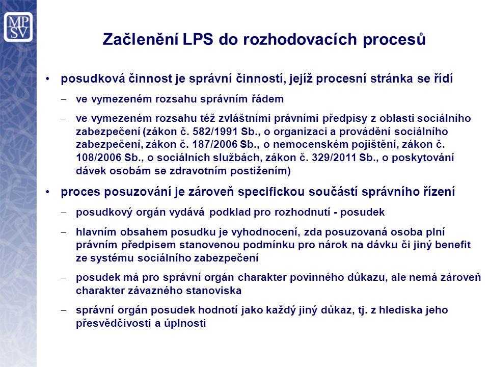 Začlenění LPS do rozhodovacích procesů posudková činnost je správní činností, jejíž procesní stránka se řídí  ve vymezeném rozsahu správním řádem  ve vymezeném rozsahu též zvláštními právními předpisy z oblasti sociálního zabezpečení (zákon č.
