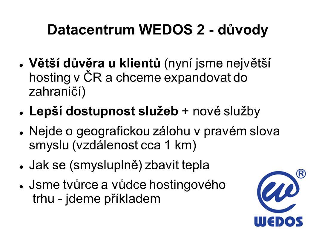Datacentrum WEDOS 2 - důvody Větší důvěra u klientů (nyní jsme největší hosting v ČR a chceme expandovat do zahraničí) Lepší dostupnost služeb + nové