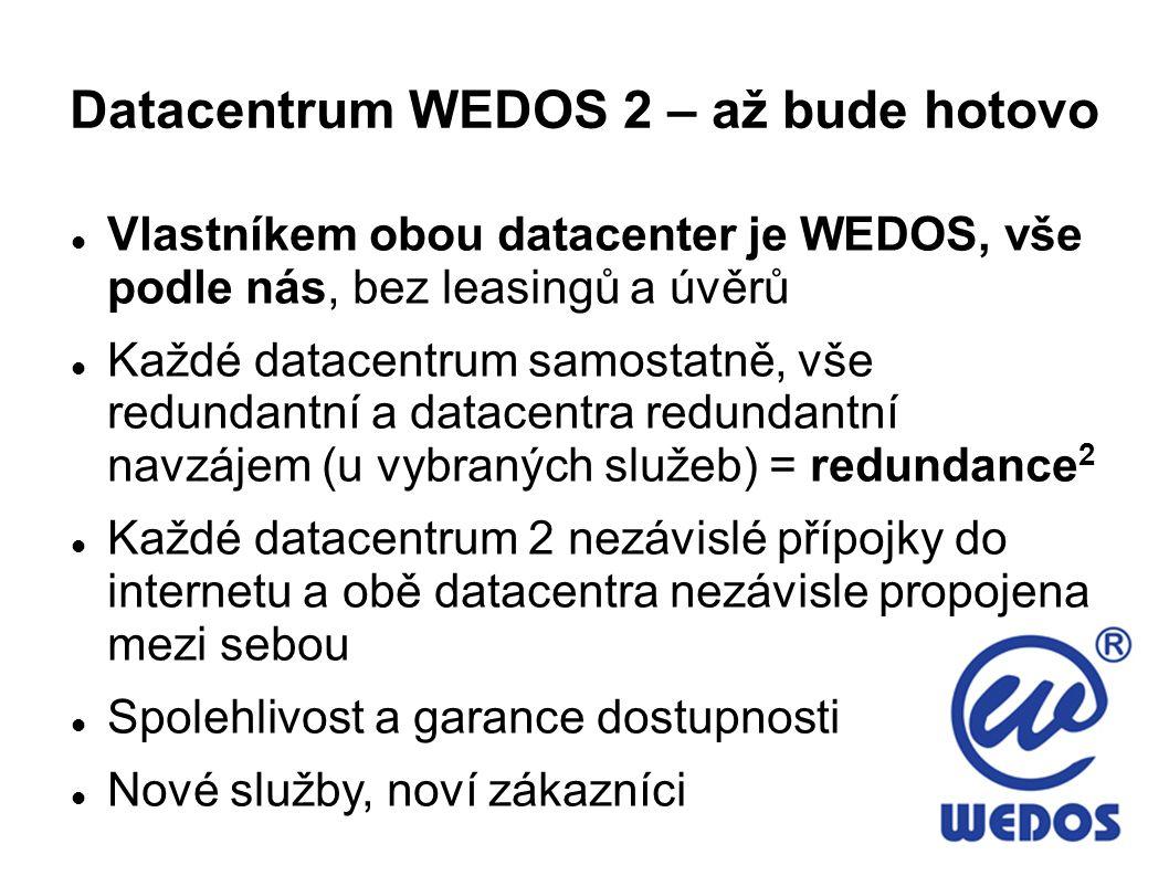 Datacentrum WEDOS 2 – až bude hotovo Vlastníkem obou datacenter je WEDOS, vše podle nás, bez leasingů a úvěrů Každé datacentrum samostatně, vše redundantní a datacentra redundantní navzájem (u vybraných služeb) = redundance 2 Každé datacentrum 2 nezávislé přípojky do internetu a obě datacentra nezávisle propojena mezi sebou Spolehlivost a garance dostupnosti Nové služby, noví zákazníci